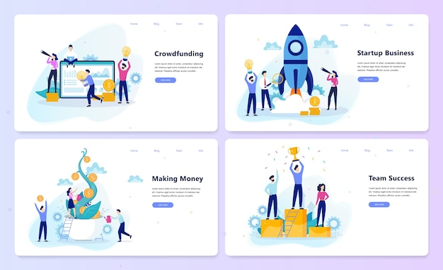 Концепция запуска и совместной работы. краудфандинговая кампания, прибыль от бизнеса