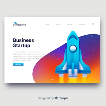 Startup anding page