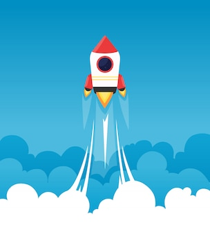 Startup background. rocket in cloudy fluffy sky goes to the moon business concept of launch startup project