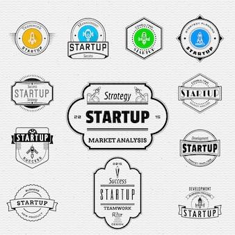 Startup значки логотипы и наклейки для любого использования.