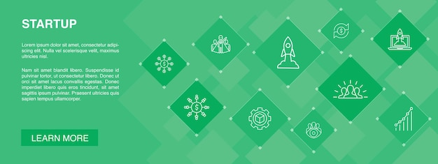 Startup banner 10 icons concept.crowdfunding, business launch, motivation, product development simple icons