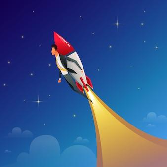 Стартап бизнес. бизнесмен на ракете. плоский дизайн бизнес концепции иллюстрации.