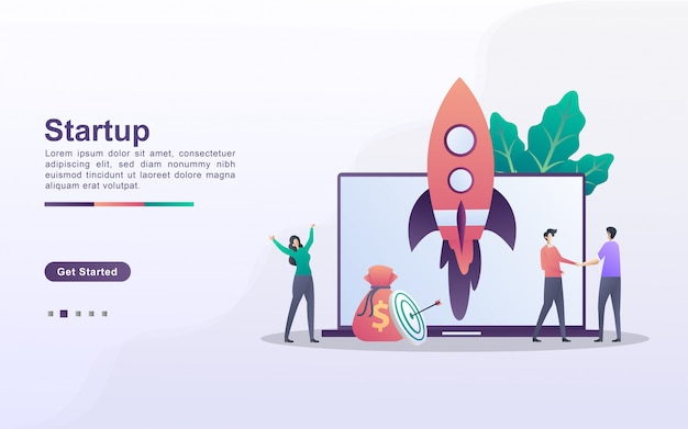 Startup business concept. business project startup process, idea through planning and strategy, time management. can use for web landing page, banner, mobile app.