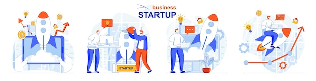 Startup business concept set new project launch development and innovation