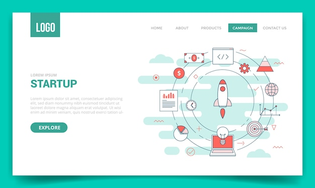 Startup business concept with circle icon for website template or landing page