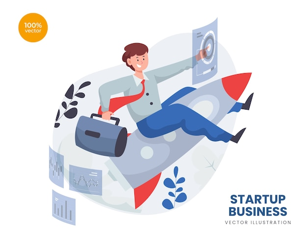 Startup business concept with entrepreneur man and rocket launch