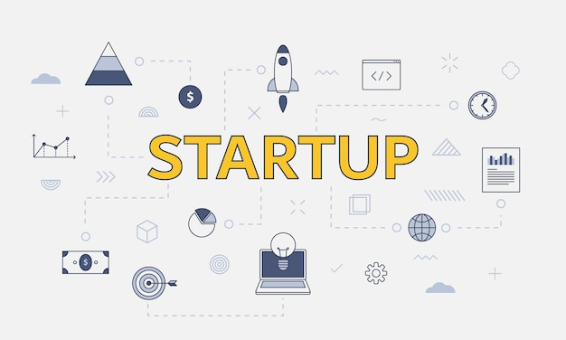 Startup business concept with icon set with big word or text on center vector illustration