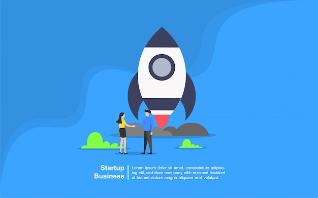 Startup business concept with people character