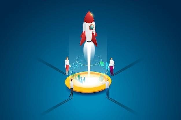 スタートアップビジネスグループの人々は、計画と戦略を通じてロケットとアイデアを打ち出します。フラット等尺性の概念。図