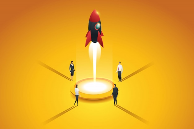 Startup business group people launching a rocket. flat 3d isometric concept. illustration