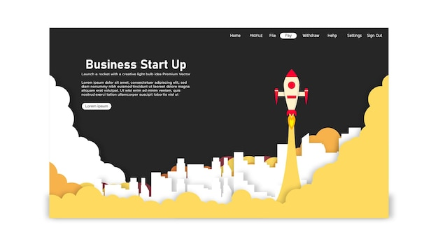 スタートアップビジネスアイデアランディングページテンプレート