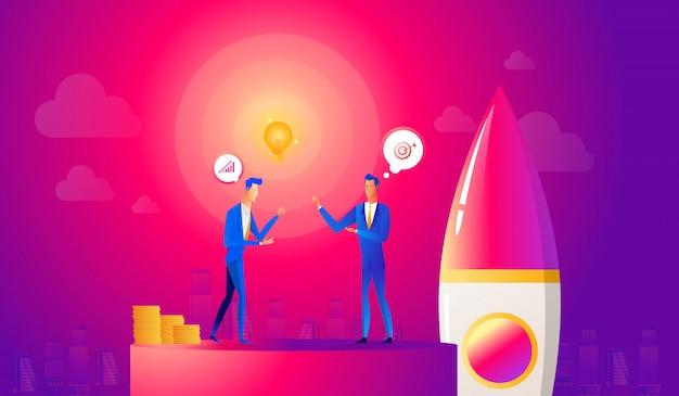 スタートアップビジネスイラスト。ビジネスマンはロケットを発射する前にアイデアについて合意します。イノベーション技術が始動。空への宇宙船打ち上げ