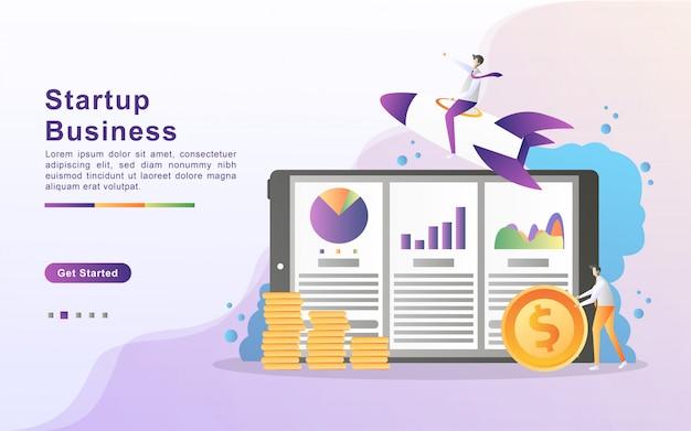 スタートアップビジネスイラストコンセプト。ビジネスパートナーシップの概念、人分析データグラフ、進行状況の監視。ランディングページのフラットなデザイン