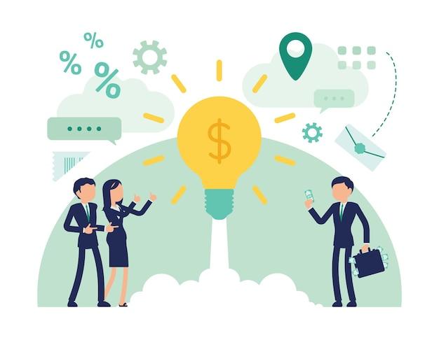 Инвестиции в стартап-бизнес. мужчины и женщины-менеджеры вкладывают деньги в проект, в новый бизнес, в яркую лампочку в виде запуска ракеты. абстрактные векторные иллюстрации, безликий персонаж