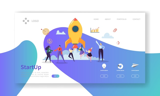 Startup business landing page. new project banner with  people characters launching rocket website template.