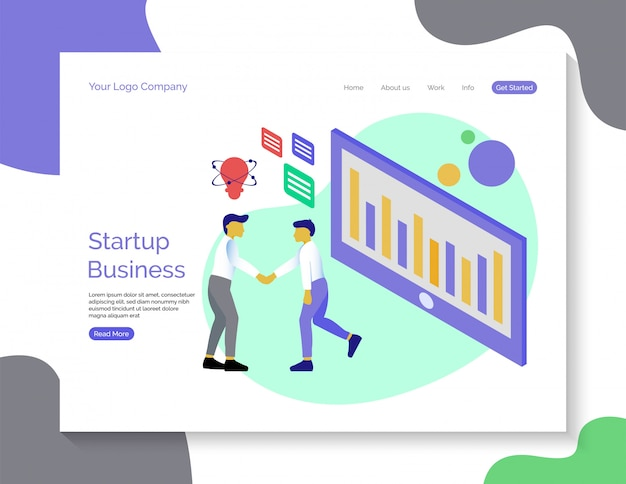 Startup business landing page template vector background.