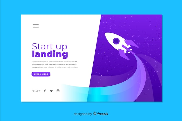 Startup business landing page with rocket