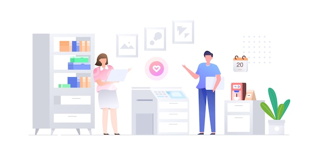 Startup business office male female character  flat style