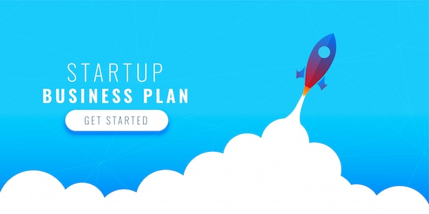 Startup business plan concept design with flying rocket