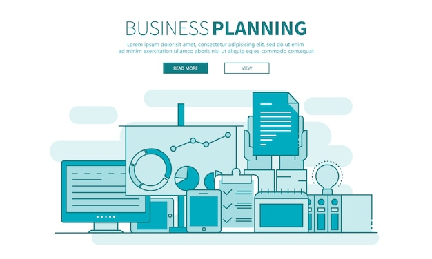 Startup, business planning and results outline website banner