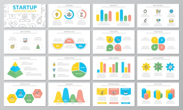 Startup and business presentation templates elements