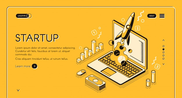 Startup business project illustration in thine line isometric design