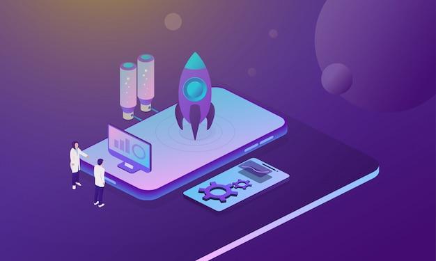 Startup business rocket