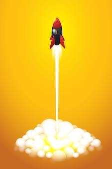 オレンジ色の背景に飛んでいるロケットにスタートアップビジネス。アイソメ図