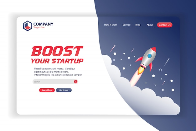 Startup business website landing page vector template design concept