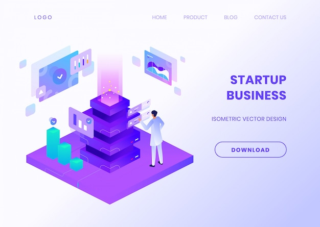 Startup business website template with isometric illustration