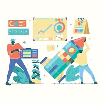 Работа в команде сотрудник в startup business символов иллюстрация