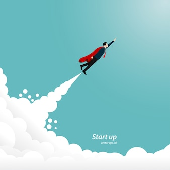 Startup businessman ship flying to success goal.