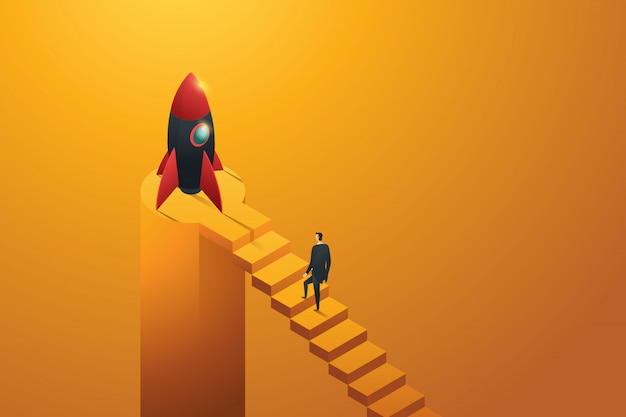 Startup businessman walking up ladder to a rocket, isometric concept. illustration