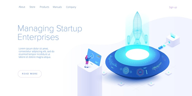 Startup coaching and mentorship concept in isometric