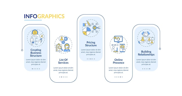 Startup company development infographic template