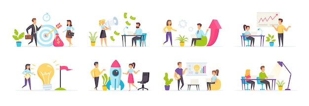 Startup company set with people characters in various scenes and situations.