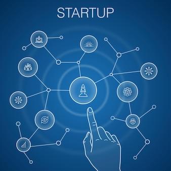 スタートアップのコンセプト、青い背景。クラウドファンディング、ビジネスの立ち上げ、モチベーション、製品開発のアイコン