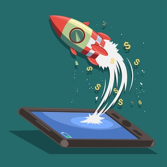 スタートアップのコンセプトデザイン。スマートフォンやタブレットからロケット船が飛ぶ。打ち上げビジネスの成功の漫画イラスト。