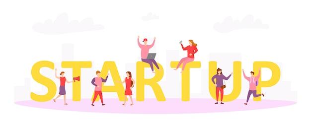 Startup концепция иллюстрации деловых людей, работающих в команде, чтобы начать бизнес. мужчины и женщины стратегии деятельности среди огромного стартапа надписи. персонажи люди в плоском дизайне. вектор.
