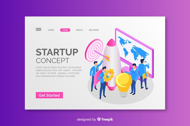 Startup concept isometric landing page