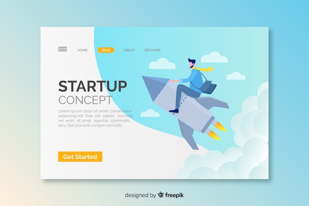 Startup concept landing page with rocket