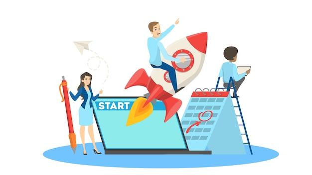 スタートアップのコンセプト。個人および会社の成長の比喩としてのロケットの男。人々はプロジェクトを立ち上げ、イノベーションを起こします。開発のアイデア。漫画のスタイルで分離