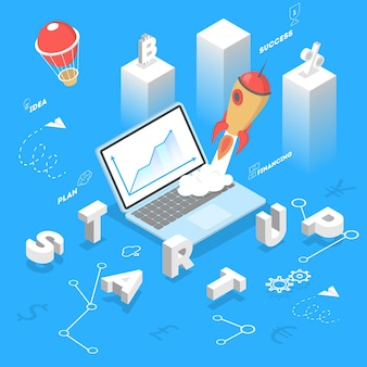 スタートアップのコンセプト。人々はアイデアを持ち、チームで働くビジネスを立ち上げます。プロジェクトの計画、推進、管理、マーケティングのアイデア。平らな