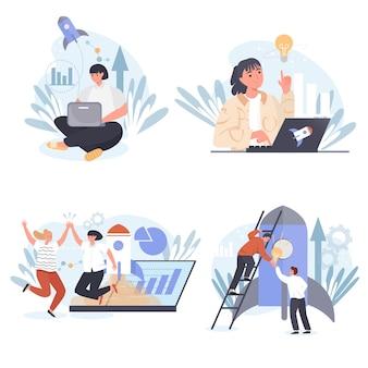 Startup concept scenes set