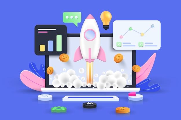 Концепция запуска, программное обеспечение и веб-разработка с 3d-фигурами, гистограммой, инфографикой на синем фоне. 3d векторные иллюстрации