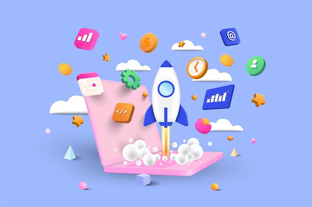 Startup concept, software and web development with 3d shapes, bar chart, infographic on blue background. 3d vector illustration