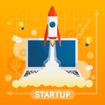 Startup concept with element vector on yellow background