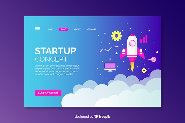 Startup concept with rocket landing page
