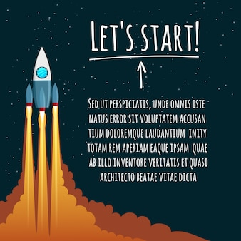 Startup concept with rocket launch