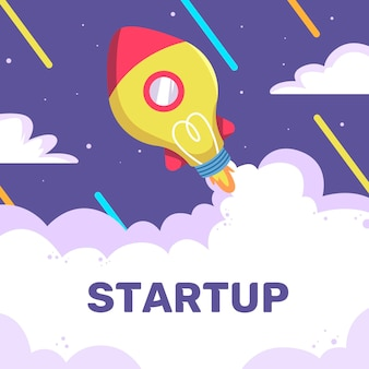 Startup concept with rocket